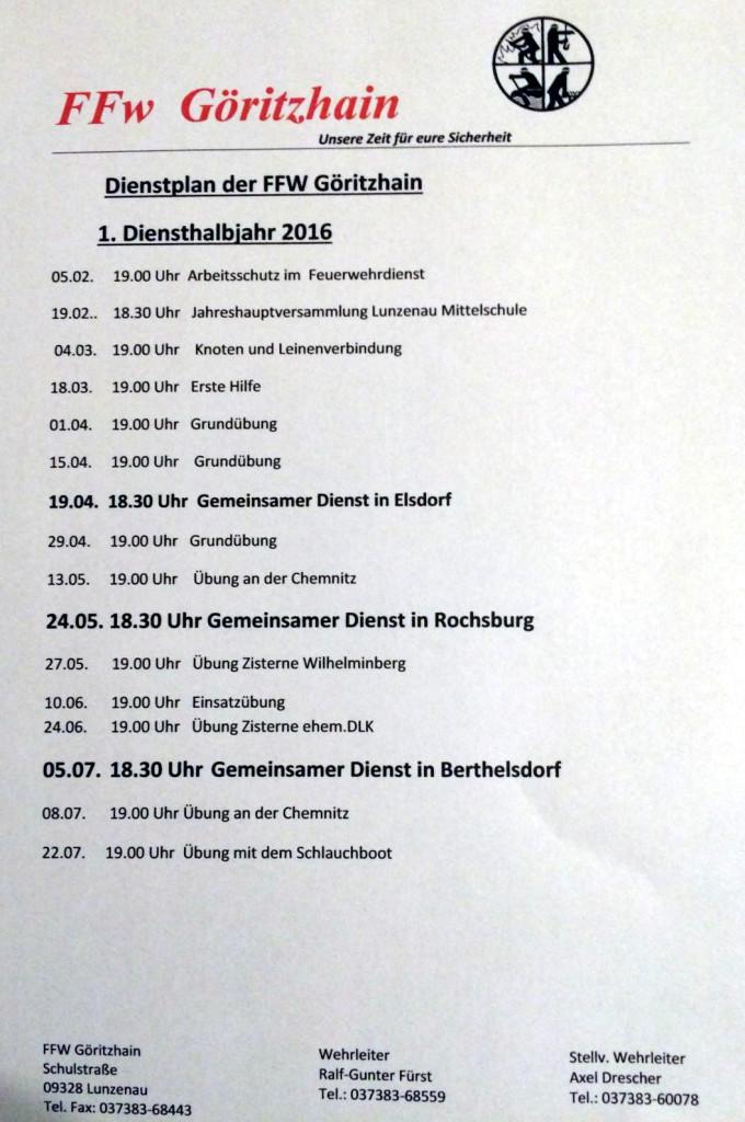 Dienstplan 2016